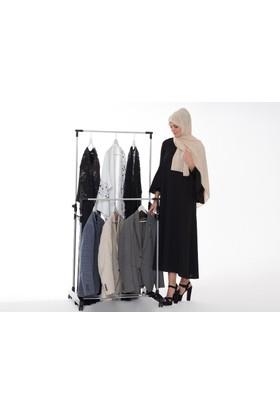 Biricik Tekerlekli İkili Alüminyum Katlanabilir Elbise Askılığı Konfeksiyon Askısı Askılık