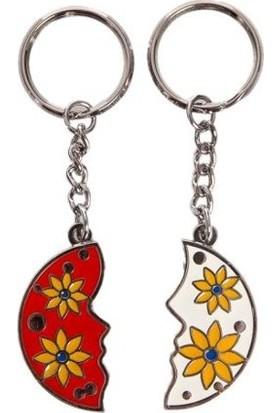 Nektar G08003-1 Çiçekli İkili Anahtarlık Kırmızı Beyaz