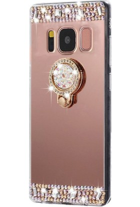 Kapakevi Samsung Galaxy J7 2016 Aynalı Taşlı Yüzüklü Koruma Kılıf - Rose Gold