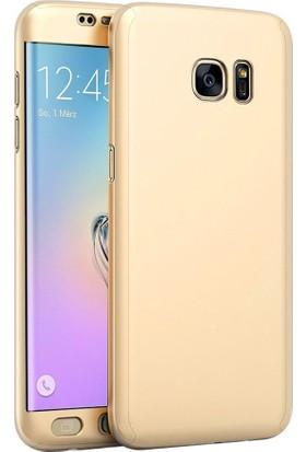 Kapakevi Samsung Galaxy S7 Edge 360 Tam Koruma Camlı Kılıf - Gold