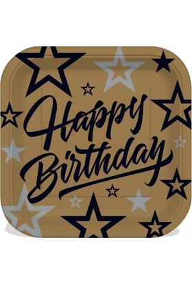 Parti Bulutu Happy Birthday Karton Kare Tabak 8'li