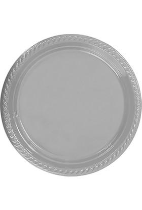 Parti Bulutu Gümüş Plastik Tabak 26 cm 8'li