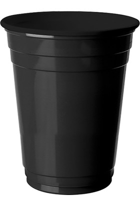 Parti Bulutu Siyah Plastik Büyük Meşrubat Bardağı 8'li