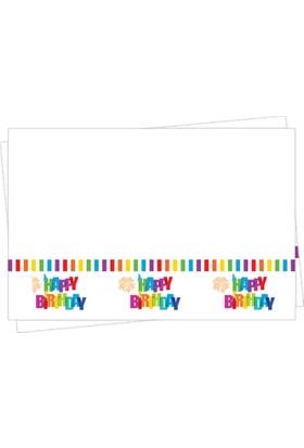 Parti Bulutu Renkli Doğum Günü Plastik Masa Örtüsü 120 x180 cm