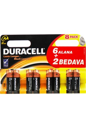 Duracell AA 6+2 Kalem Pil 8'Li