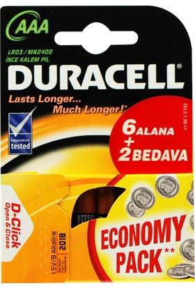 Duracell AAA 6+2 İnce Pil 8'Li