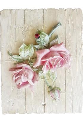 Merland Ahşap Görünümlü 3D Gül Çiçek Tablo