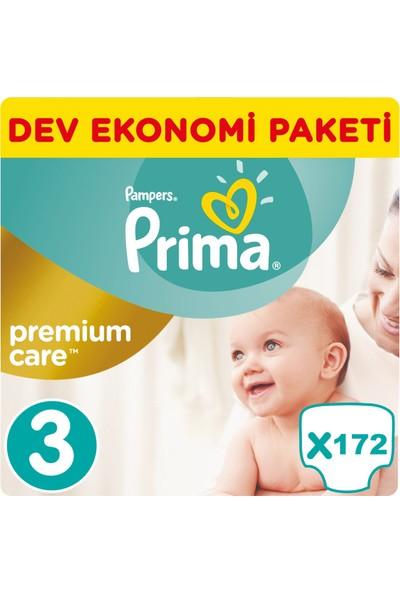 Prima Bebek Bezi Premium Care 3 Beden Midi Dev Ekonomi Paketi 172 Adet