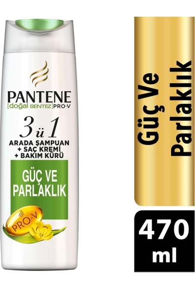 Pantene Doğal Sentez Güç ve Parlaklık 470 ml 3'ü 1 Arada Şampuan ve Saç Bakım Kremi