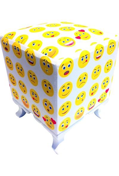 Home Life Emoji Baskılı Kumaş Ayak Uzatma Oturma Puf 33 x 33 x 43 cm