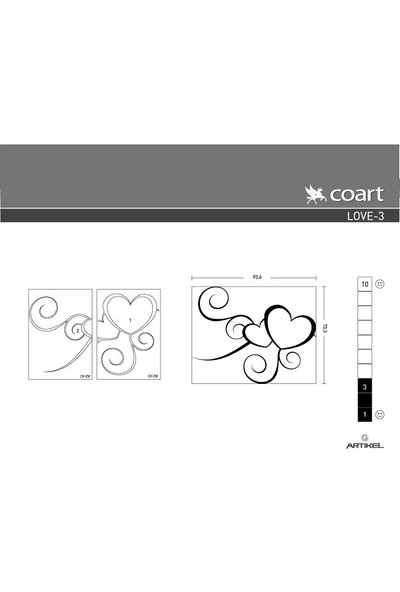 Artikel Love-3 Kadife Duvar Sticker 93,6X73,3