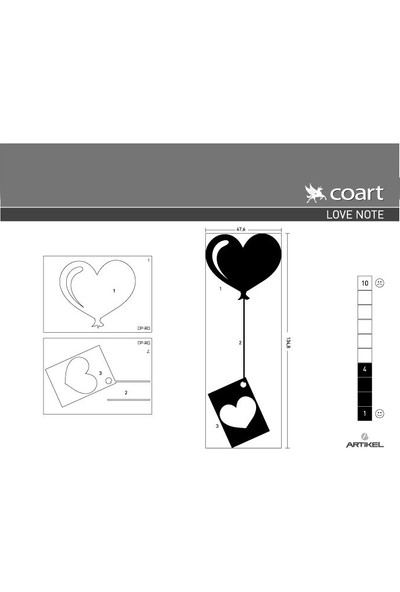 Artikel Love Note Kadife Duvar Sticker 47,6X134,8