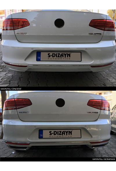 S-Dizayn VW Passat B8 Krom Egzoz Görünümü Difüzör R Line Still S dizayn 2015 Üzeri