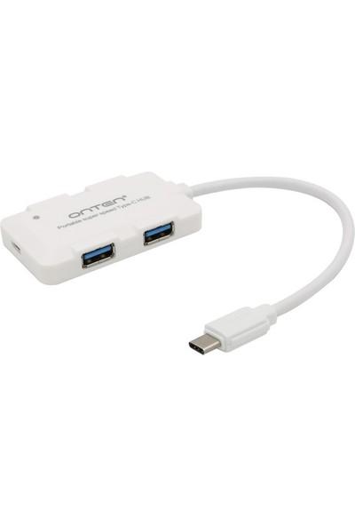 Type C to USB 3.0 4 Port Slim Tip Kablolu Hızlı Şarj Smart Hub Siyah
