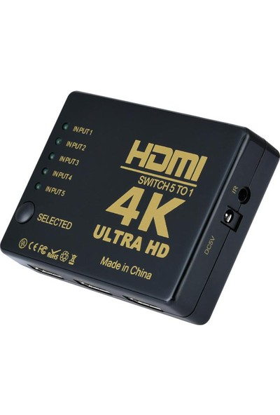 Kablosuz Kumandalı 5 Port HDMI Switch 4K 2160p Full HD 1080p IFSWT501