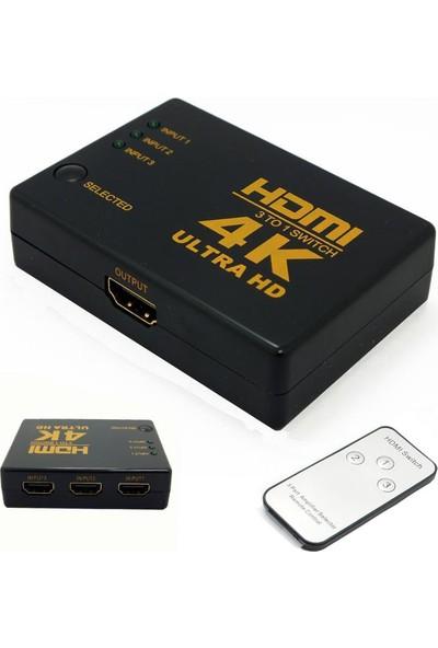 Kablosuz Kumandalı 3 Port HDMI Switch 4K 2160p Full HD 1080p IFSWR302