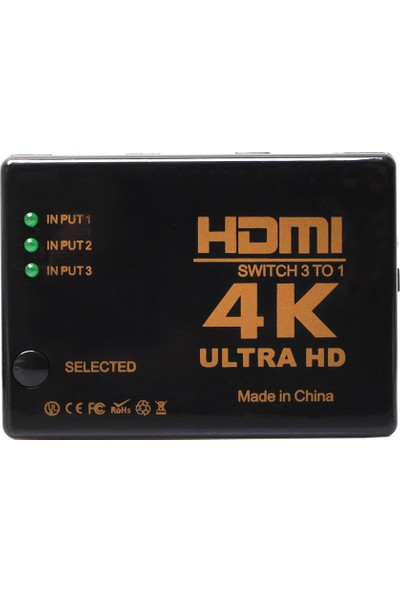 Kablosuz Kumandalı 3 Port HDMI Switch 4K 2160p Full HD 1080p IFSWR302