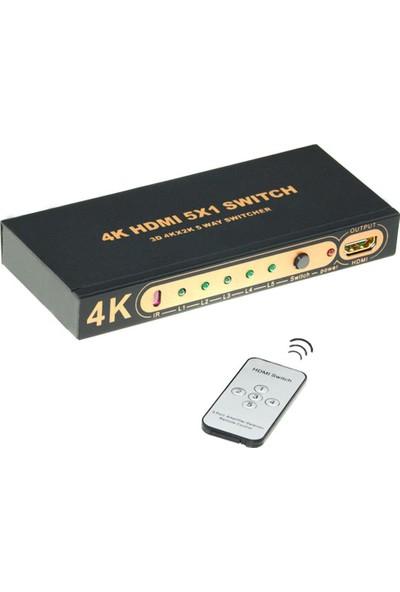 Kumandalı 5 Port HDMI Switch 4K 30 fps Full HD 3D 1080i 120 fps 4K501R