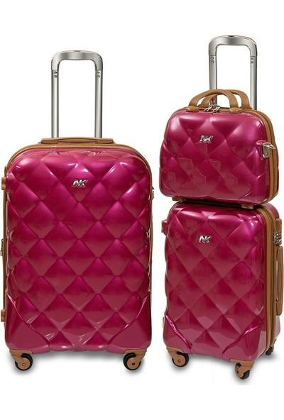 Nk VLZ-025 Polycarbonate 4W Fuşya 3 lü Valiz/Bavul Seti