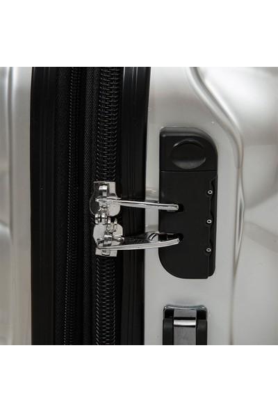 Nk VLZ-025 Polycarbonate 4W Gri 3 lü Valiz/Bavul Seti