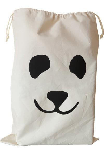 Bugy Bagy Panda Keten Kirli ve Oyuncak Saklama Torbası