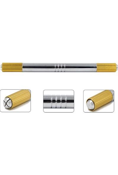 Ymr Microblading Kalemi Gümüş-Sarı Çift Başlı