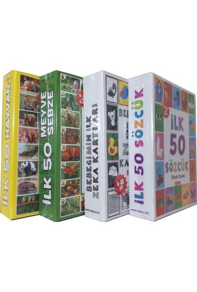 Diy-Toy Taba Grup 4 Lü Eğitim Seti İlk 50 Sözcük, İlk 50 Hayvan,İlk 50 Sebze Meyve,Bebeğimin İlk Zeka Kartları