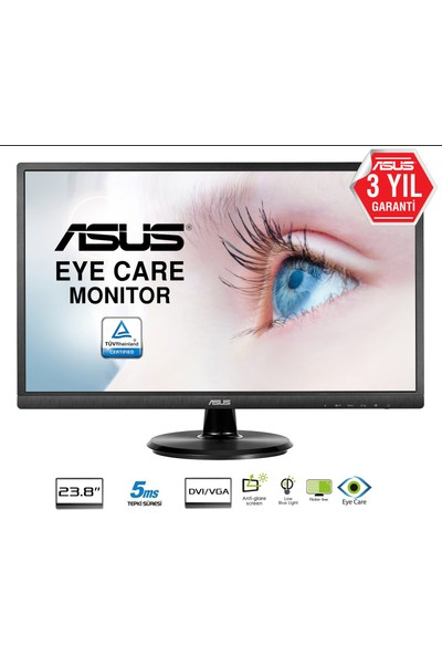 "Asus 23.8"" VA249NA 5ms (Analog+DVI) Full HD LED Monitör"