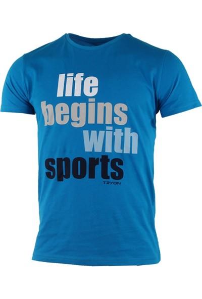 Tryon Aria Bisiklet Yaka T-Shirt Mavi