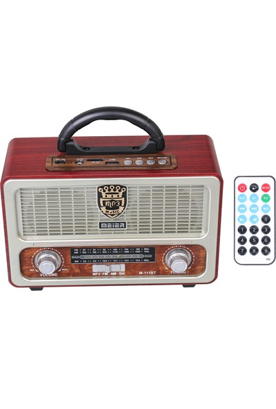 Meirer M 113 Bt Nostaljik Görünümlü Usb Sd Radyo