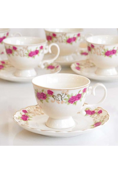 Gönül Porselen 6 Kişilik Güllü Kahve Fincan Takımı