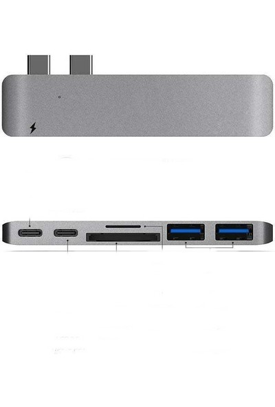 Platoon Macbook Pro Usb Type C Kart Okuyucu-Usb 3.0 Hub-Type C Dişi Connectör
