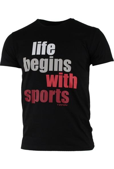 Tryon Aria Bisiklet Yaka T-Shirt Siyah