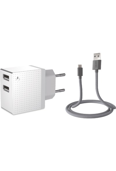 Emie Boo Travel Charger Combo Pack 2 Port Travel Charger 2.4A 12W + 1m Micro USB Kablo