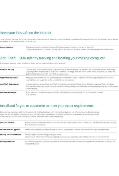 Eset Internet Security 2018 V.11 / 3 Kullanıcı 3 Yıl Dijital Lisans