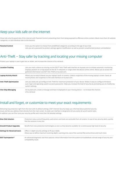 Eset Internet Security 2018 V.11 / 10 Kullanıcı 2 Yıl Dijital Lisans