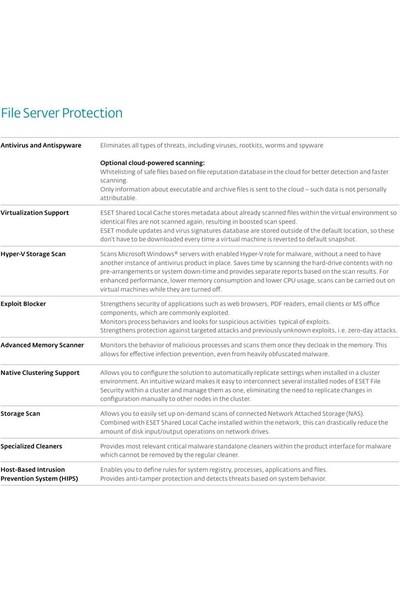 Eset File Security For Microsoftserver 2018 / 1 Kullanıcı 3 Yıl Dijital Lisans