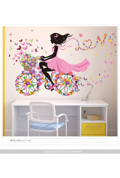 Zooyoo ev dekor balerin kız bisikletli sihirli 3d kelebekler duvar sticker pvc