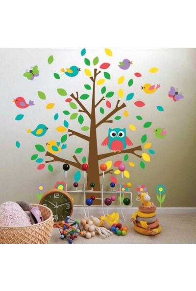 Zooyoo çocuk odası renkli ağaç kuşlar kelebek çiçekler görsel duvar sticker pvc