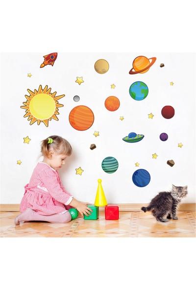 Zooyoo çocuk odası gezegenler güneş yıldız dekoratif duvar pvc sticker