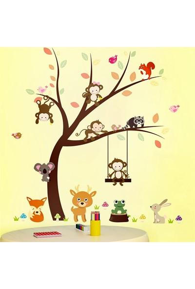 Zooyoo çocuk odası dekor asia hayvanları maymun tilki sincap koala tavşan duvar pvc sticker