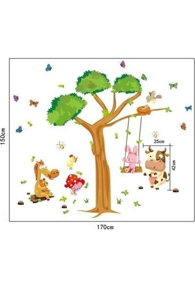 Zooyoo çocuk odası asia hayvanları renkli kelebekler orman yeşil ağaç duvar dekor pvc sticker