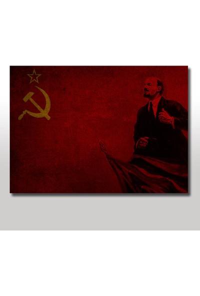 Tablomega Ahşap Tablo Lenin Ve Sovyetler Bayrağı