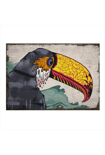Tablomega Ahşap Tablo Boyalı Papağan