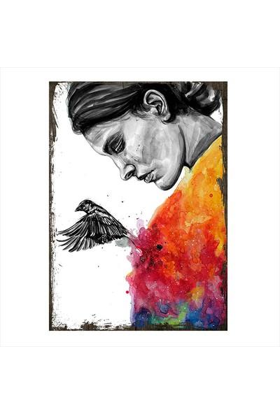 Tablomega Ahşap Tablo Yağlı Boya Çalışması Kadın ve Kalpten Ayrılan Kuş