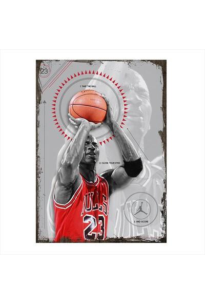 Tablomega Ahşap Tablo Michael Jordan Basket