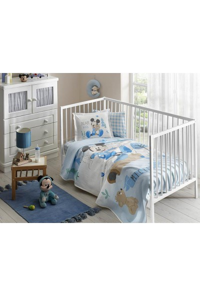 Taç Lisanslı Bebek Pike Takımı Disney Mickey Blue Baby