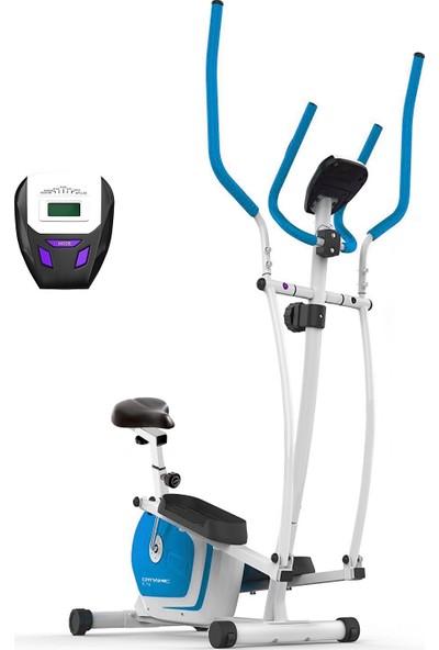 Dynamic E18 Seleli Manyetik Eliptik Bisiklet Mavi Renk, Elden Nabız Ölçer - 2 Yıl İnterspor Garantili