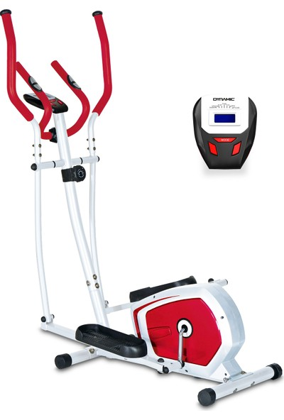 Dynamic E16 Manyetik Eliptik Bisiklet, Elden Nabız Ölçer, Kırmızı Renk - 2 Yıl İnterspor Garantili