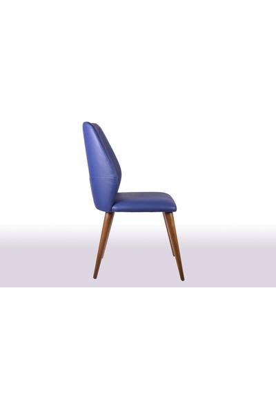 Krl Mobilya Aris Ceviz Ahşap Sandalye Deri Döşeme